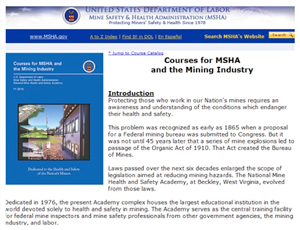 Screenshot MSHA's Instructional Systems Design